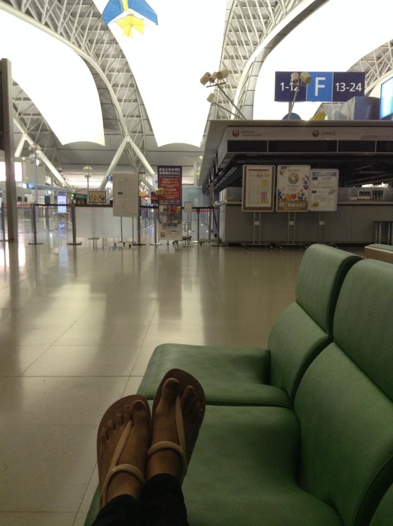 Spent the night alone , sleep at this bench at Kansai International Airport.