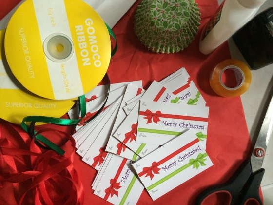 Ribbons, gift cards, papers
