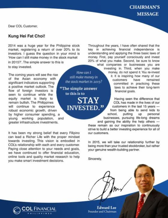 COL 2015 Chairman Message- Stay Invested